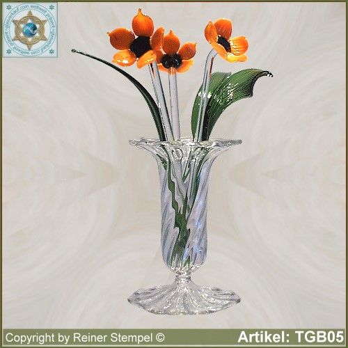 glasblumen blumen aus glas mohnblumen strauss set 7 tlg orange onlineshop. Black Bedroom Furniture Sets. Home Design Ideas